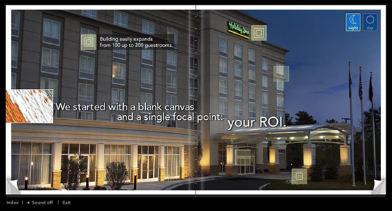Holiday Inn eBooklet: animated rollover information; openGL based transitions; ambient sound effects